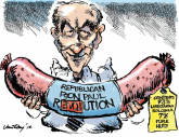 Ron Paul mostly bologna, a little nuts -- COLOR by Jim Day, Politicalcartoons.com