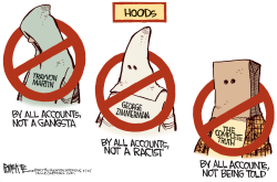 Trayvon Shooting Hoods by Rick McKee