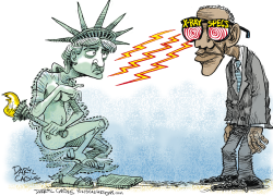 Obama X-Ray Specs and Liberty  by Daryl Cagle
