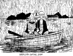 American Gothic adrift by Bill Schorr