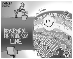 Keystone XL pie in the sky BW by John Cole