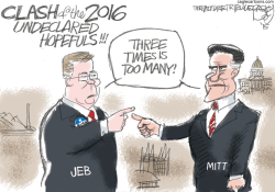 Jeb and Romney Clash by Pat Bagley