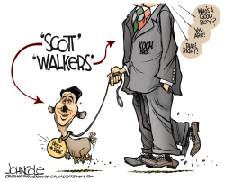 Scott Walker and the Kochs  by John Cole