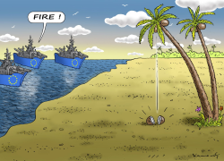 DESTRUCTION OF SMUGGLERS BOATS IN AFRICA by Marian Kamensky