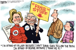 Hillary and Bernie  by Rick McKee