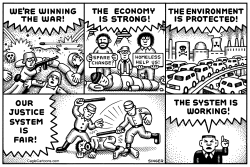 System Is Working horizontal by Andy Singer