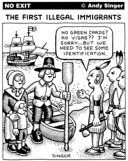 The First Illegal Immigrants by Andy Singer