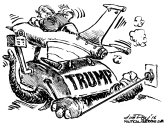 Trump takes a flying leap by Jim Day, Politicalcartoons.com