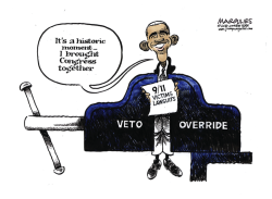 Obama Veto Override of 9/11 Victim Lawsuits color by Jimmy Margulies