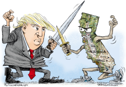 Trump vs California by Daryl Cagle