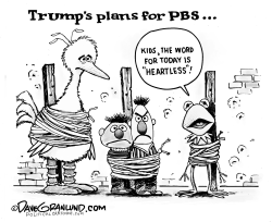 PBS funding cuts by Dave Granlund