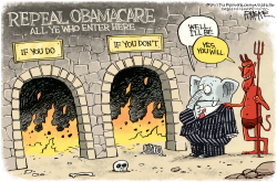 Obamacare Hell by Rick McKee
