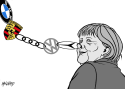 car-dependent Merkel by Rainer Hachfeld, Neues Deutschland, Germany