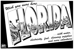 FLORIDA HURRICANE CLEAN UP, B/W by Randy Bish