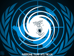 Hurricane Trump Hits The UN by NEMØ