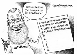 Letterman out of retirement by Dave Granlund