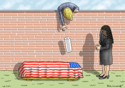 Trump - Grieving Widow and Paper Towels by Marian Kamensky