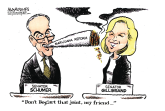 Schumer and Gillibrand marijuana plans color by Jimmy Margulies, Politicalcartoons.com