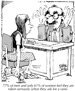 TRUE BUSINESS Women Asking for a Raise by Daryl Cagle