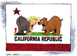 Trump and California Face Off by Daryl Cagle