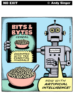 Bits and Bytes Cereal color version by Andy Singer