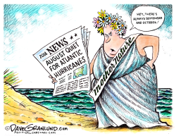August 2018 quiet for hurricanes by Dave Granlund