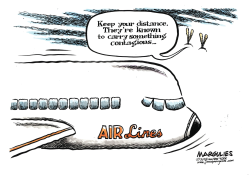 QuarantinedAir- liner and passenger illness color by Jimmy Margulies