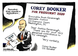 Senator Corey Booker and Kavanaugh color by Jimmy Margulies