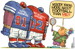 Trump and his Football by Rick McKee