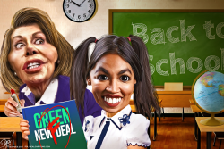 Green New Deal Pelosi and AOC by Bart van Leeuwen
