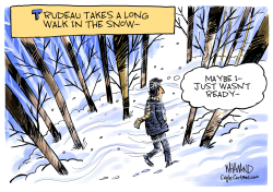 CANADA Trudeau Takes a Long Walk in the Snow by Dave Whamond