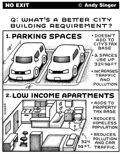 Parking Spaces Versus Housing by Andy Singer