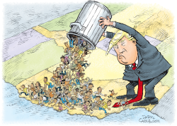 Trump Dumps Refugees on California by Daryl Cagle