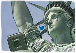 Lady Liberty Reads Racist Trump Tweets by RJ Matson
