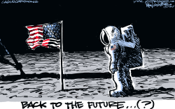 50th Anniversary Moon Landing by Milt Priggee