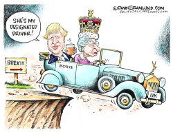 Boris Johnson and Queen Brexit by Dave Granlund