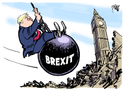 Brexit wrecking ball by Tom Janssen