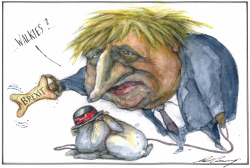 Boris Johnson Walks The Dog by Dale Cummings