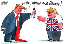Trump gives Sharpie to Boris by Christo Komarnitski
