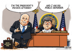 Trump Lawyers Giuliani and Barr by RJ Matson