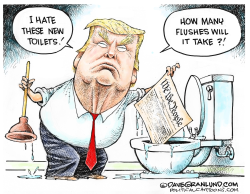Trump critique on toilet flushing by Dave Granlund