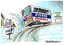 Iowa to NH Primary 2020 by Dave Granlund