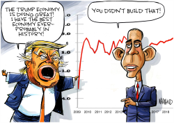 Trump and Obama both want credit for economy by Dave Whamond