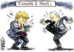 Twitter Trump and Foot in Mouth Biden by Jeff Koterba