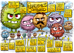 Pandemics Compared  by Daryl Cagle