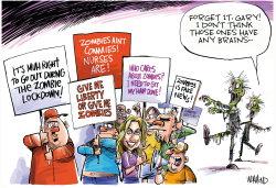 Protests defying social distancing orders by Dave Whamond