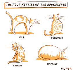 Four Kitties of the Apocalypse by Peter Kuper