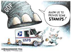 USPS Debt and Stamps by Dave Granlund