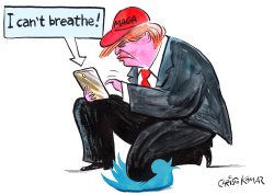 Trump tweets I cant breathe by Christo Komarnitski