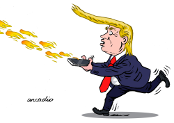 Trump and his tweets of fire. by Arcadio Esquivel